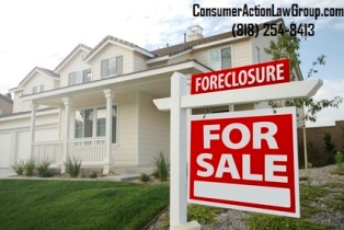 Foreclosure Home For Sale Sign and House